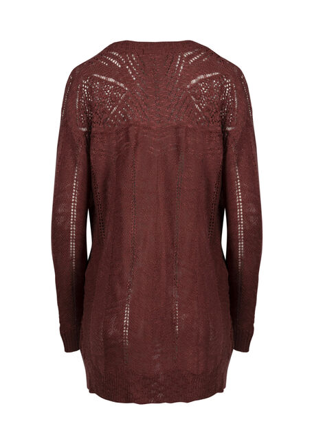 Women's Pointelle Cardigan, DARK ROSE, hi-res