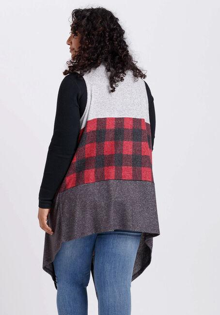 Women's Buffalo Plaid Drape Vest, RED/CHARCOAL, hi-res