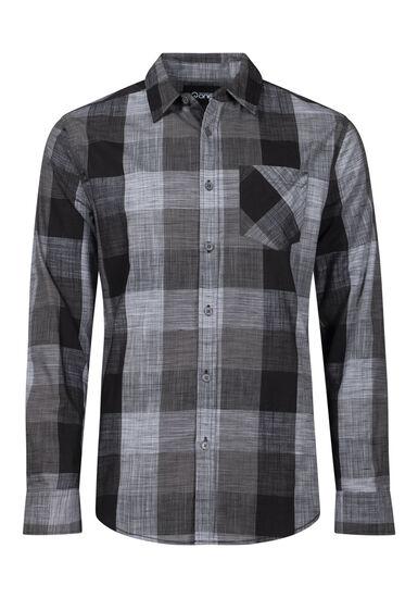 Men's Tonal Buffalo Plaid Shirt, BLACK, hi-res