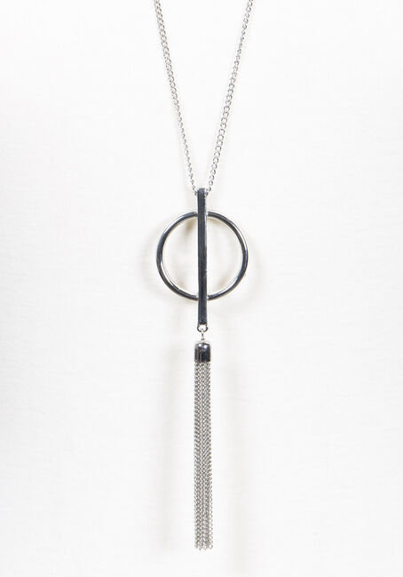 Women's Tassel Necklace, SILVER, hi-res