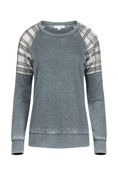 Women's Plaid Insert Crew Neck Fleece