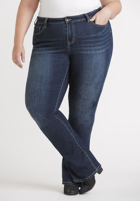 Women's Plus Size Dark Wash Baby Boot Jeans