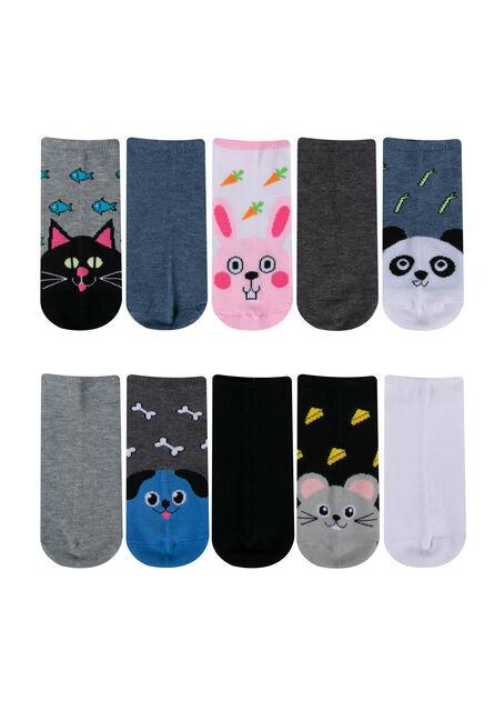 Women's 10 Pair Critter Socks, GREY, hi-res