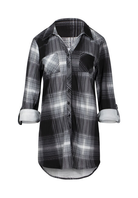Women's Relaxed Fit Knit Plaid Tunic Shirt