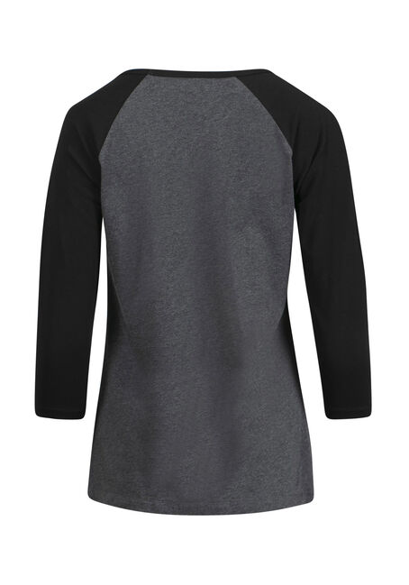 Women's Twist Front Baseball Tee, CHARCOAL, hi-res
