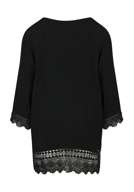 Ladies' Crochet Trim Kimono, BLACK, hi-res