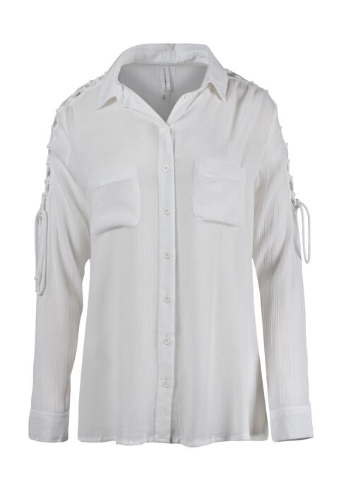 Women's Lace Up Sleeve Shirt, WHITE, hi-res