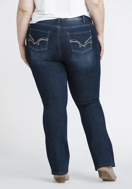 Ladies' Plus Size  Baby Boot Jeans, DARK WASH, hi-res