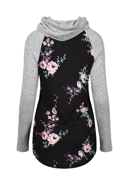 Women's Floral Cowl Neck Top, BLACK, hi-res