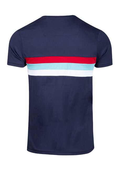 Men's Stripe Crew Neck Tee, NAVY, hi-res