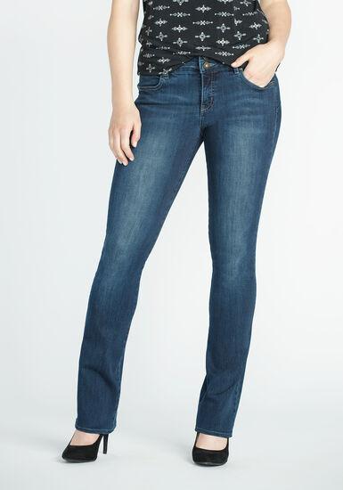 Ladies' Baby Boot Jeans, DARK WASH, hi-res