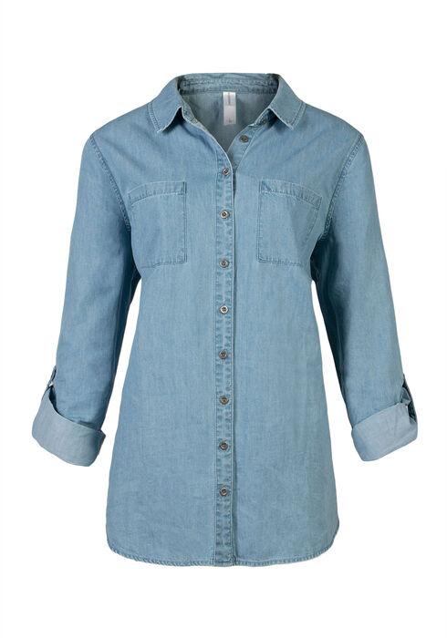 Ladies' Chambray Shirt, LIGHT WASH, hi-res