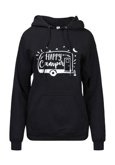 Women's Happy Camper Hoodie, BLACK, hi-res