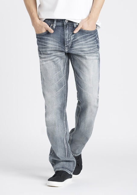 Men's Whisker Wash Relaxed Straight Jeans
