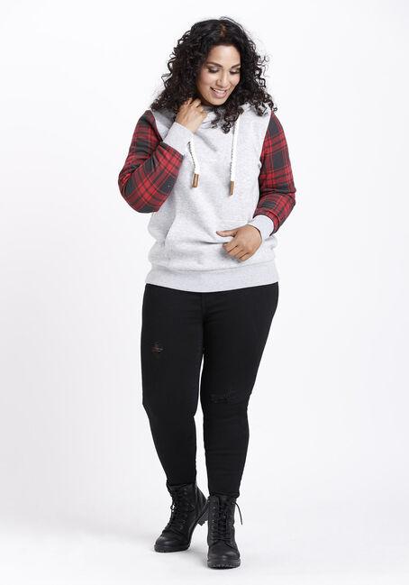 Women's Plaid sleeve Popover Hoodie, HEATHER GREY, hi-res