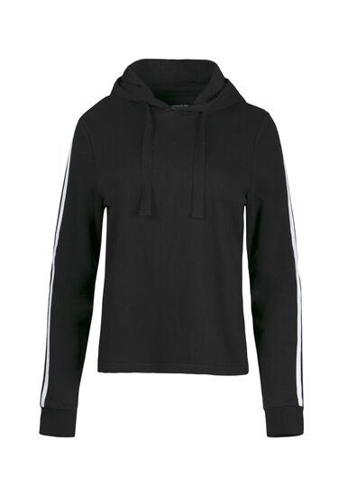 Women's Striped Sleeve Hoodie, BLACK, hi-res