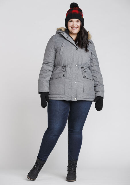 Women's Fur Trim Parka, GREY, hi-res