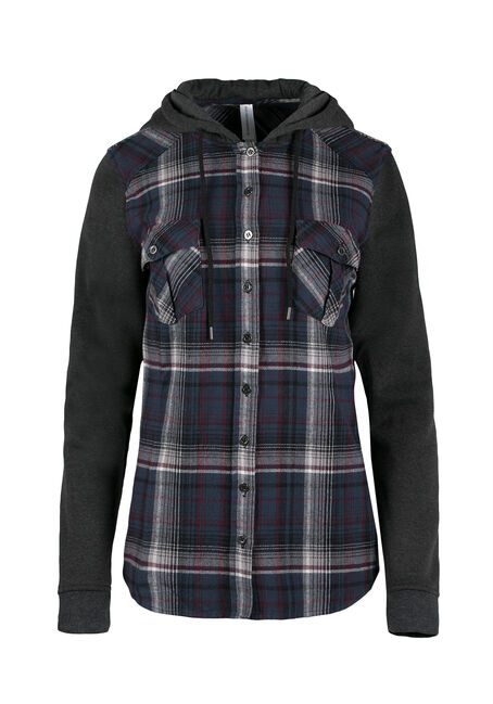Ladies' Hooded Flannel Plaid Shirt