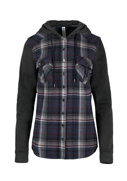 Ladies' Hooded Flannel Plaid Shirt, MOONLIGHT BLUE, hi-res