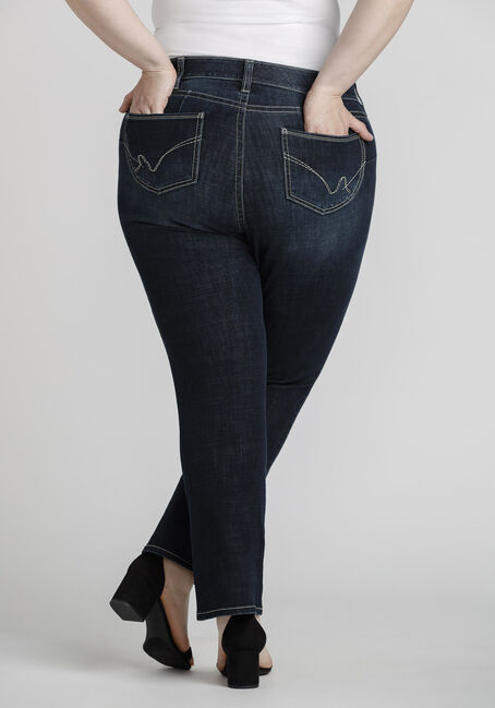 Women's Plus Size Dark Wash Curvy Bootcut jeans, DARK WASH, hi-res