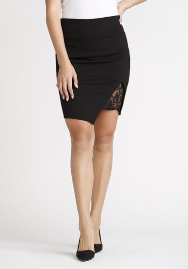 Women's High Waist Skirt With Lace, BLACK, hi-res