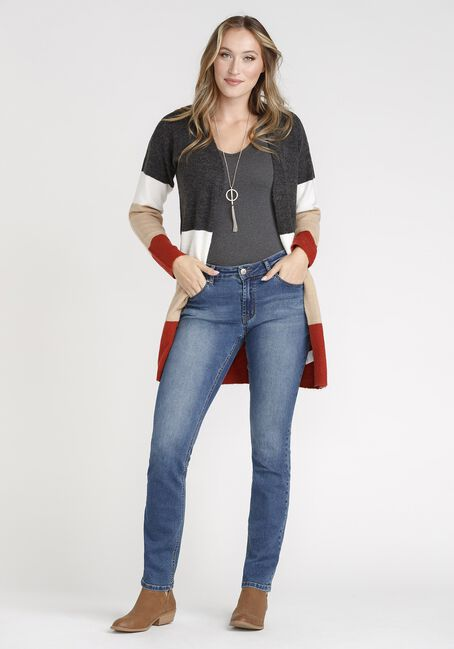 Women's Colour Block Cardigan, BURNT ORANGE, hi-res
