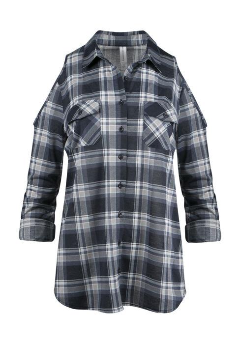 Ladies' Cold Shoulder Knit Plaid Shirt, ECLIPSE, hi-res