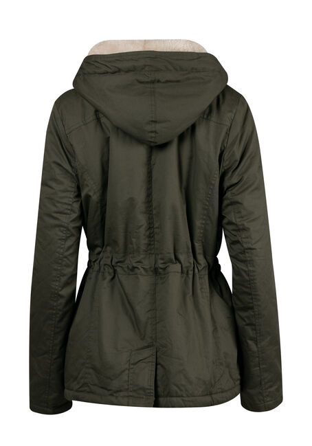 Ladies' Plus Size Hooded Anorak Jacket, OLIVE, hi-res