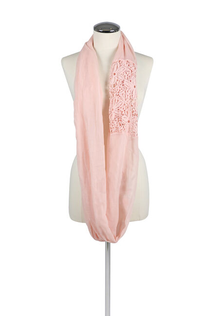 Ladies' Lace Insert Infinity Scarf, PINK, hi-res