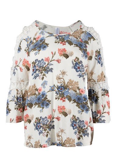 Women's Floral Cold Shoulder Top, IVORY, hi-res