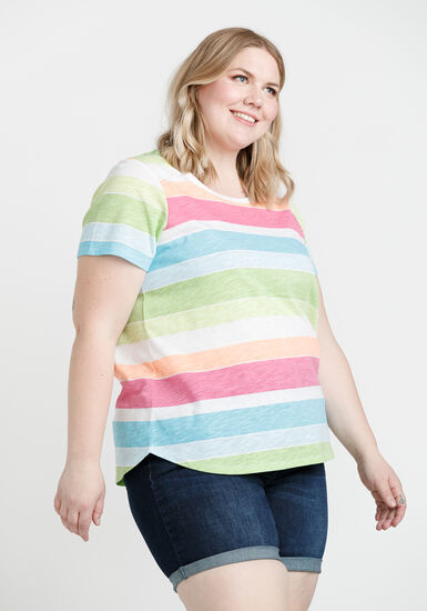 Women's Striped Scoop Neck Tee, MULTI, hi-res