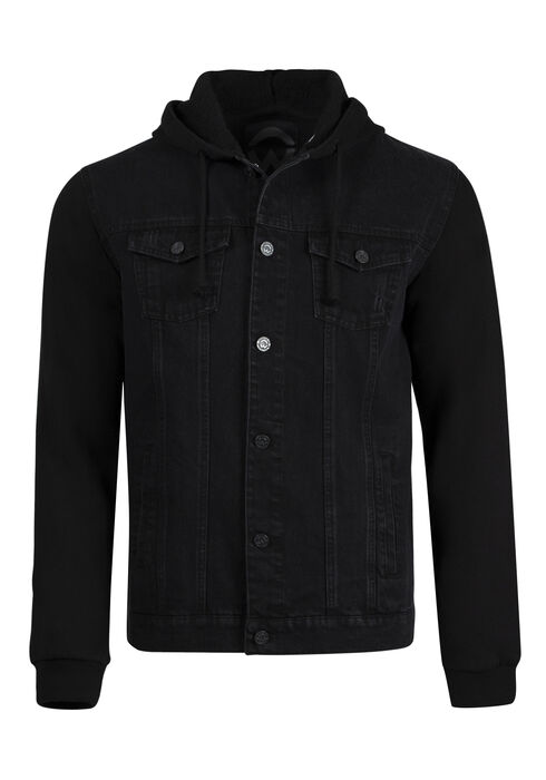Men's Fleece Sleeve Jean Jacket, BLACK, hi-res