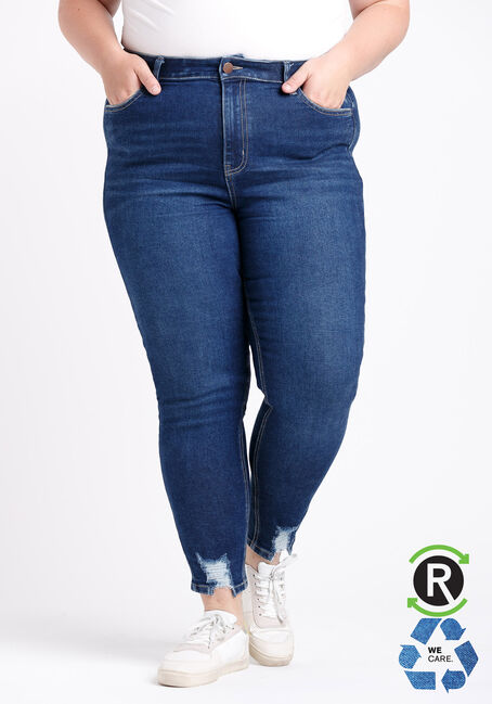 Women's Plus Size High Rise Chewed Hem Ankle Skinny Jeans