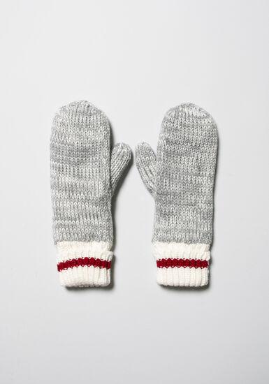 Women's Knit Mittens, GREY, hi-res