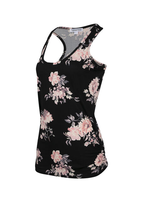 Ladies' Floral Super Soft Tank, BLACK, hi-res