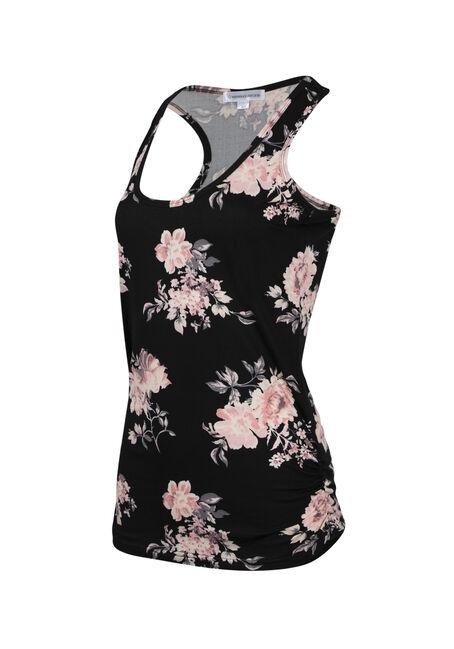 Ladies' Floral Super Soft Tank, BLACK, hi-res