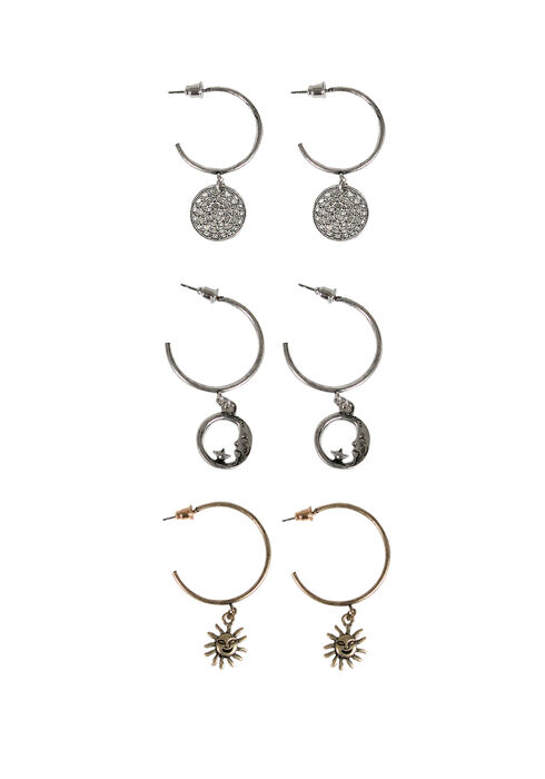 Ladies' Trio Celestial Earring Set, MIXED METALS, hi-res