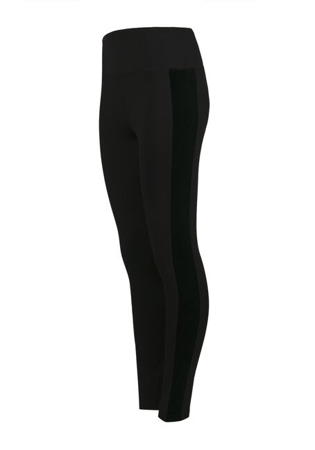 Ladies' Velour Insert Legging, BLACK, hi-res