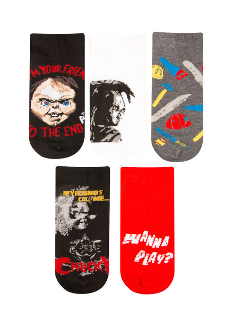 Men's 5 Pair Chucky Socks, RED, hi-res