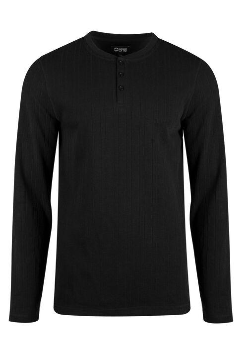 Men's Rib Knit Henley Top, BLACK, hi-res