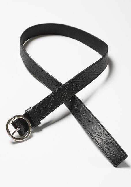Women's Circle Hardware Embossed Belt