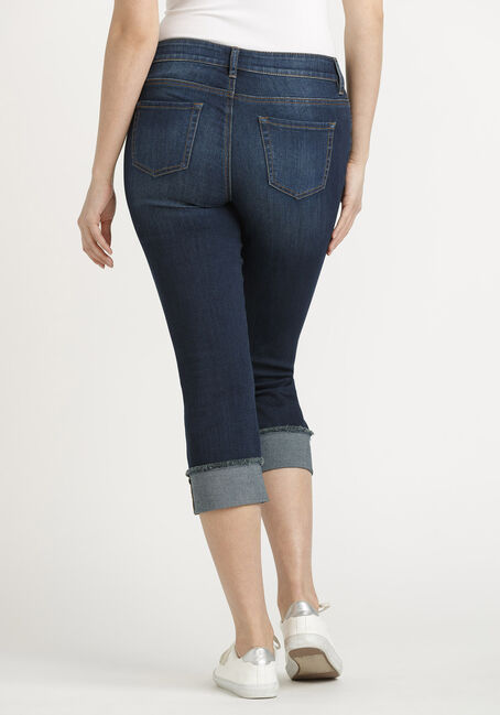 Women's Destroyed Cuffed Capri, DARK WASH, hi-res