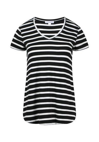 Womens' V-Neck Stripe Tee, BLACK, hi-res
