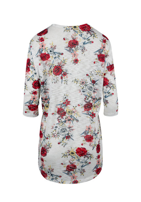 Women's Floral Print Cardigan, WHITE, hi-res