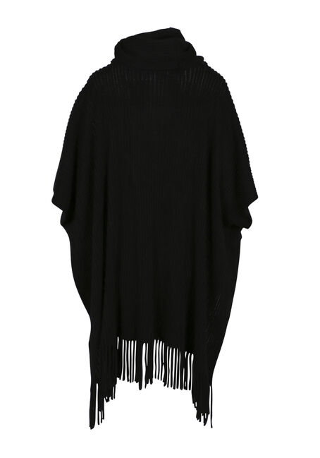 Ladies' Fringe Trim Poncho, BLACK, hi-res