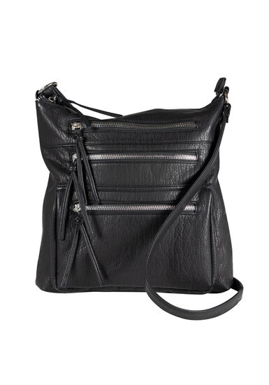 Women's Triple Zipper Cross Body Bag, BLACK, hi-res