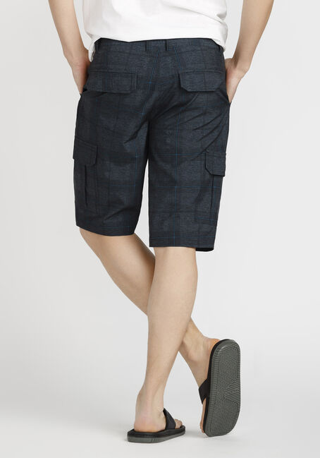 Men's Plaid Cargo Hybrid Short, BLACK, hi-res