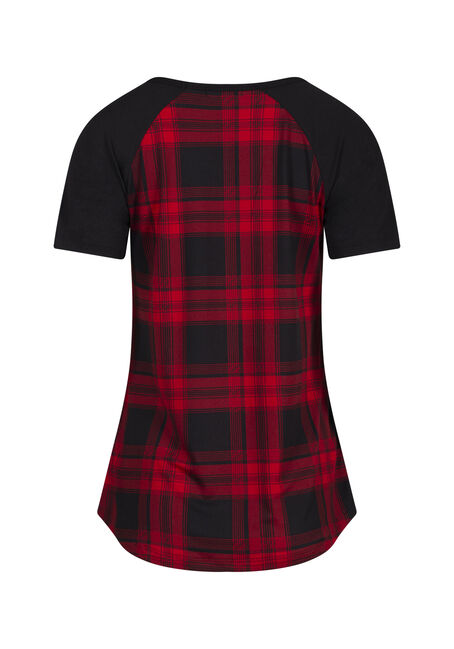 Women's Plaid Baseball Tee, RED/BLK, hi-res