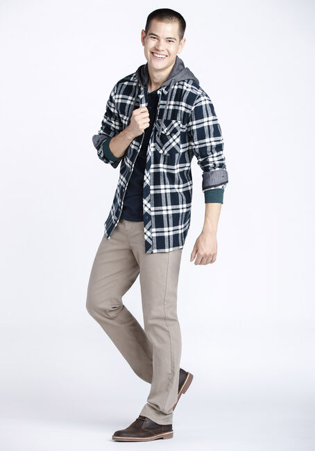 Men's Hooded Flannel Shirt, MIDNIGHT NAVY, hi-res