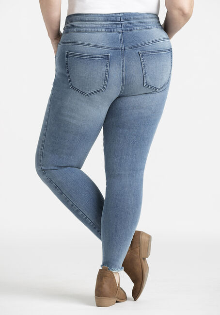 Women's Plus 2 Button Raw Hem Ankle Skinny Jeans, MEDIUM WASH, hi-res